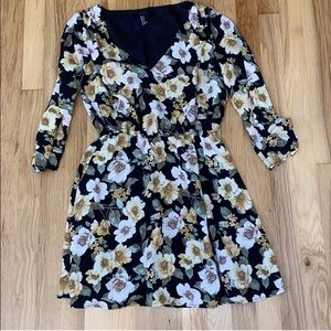 4/$20 Floral Black and Yellow Forever 21 Dress